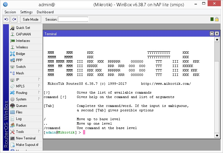 Winbox Terminal - Command line Mikrotik RouterBoard
